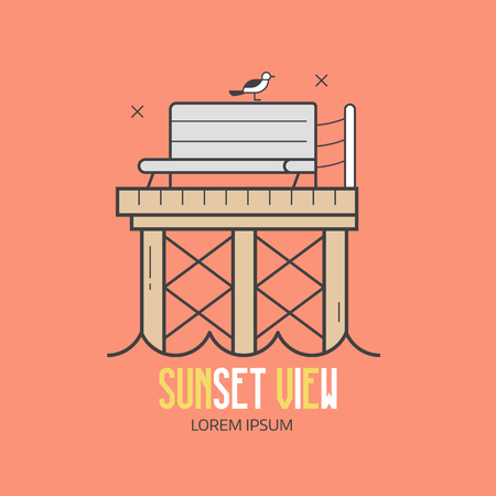 Sea pier label template in line art style. Wooden jetty, seagulls and bench at seaside vacation concept. Sunset view beach resort or summer travel agency vector
