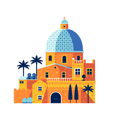 Mediterranean classic cathedral or church with dome. Part of south city or town with palms and traditional architecture. Popular touristic landmark Cathedral Santa Maria, Cagliari, Sardinia, Italy. Reklamní fotografie