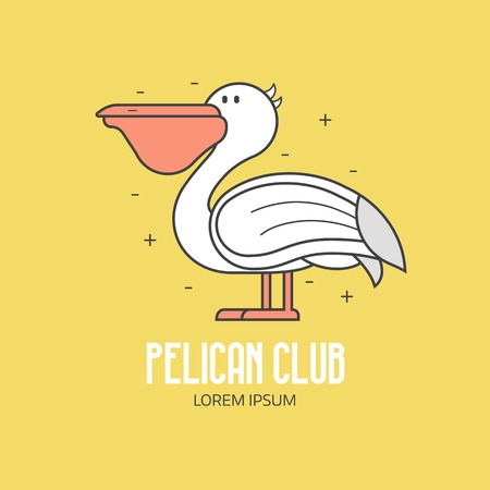White pelican logo or label template in linear style. Large sea bird icon in thin line design. Summer beach club logotype.