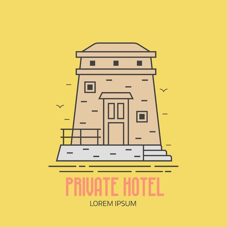 Seaside hotel logo or label template in linear style. Sea resort logotype with observation tower in thin line design. Old stone lighthouse outline icon.