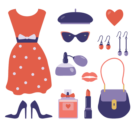 French style clothes and accessories set with polka dotted red dress, beret, sunglasses, handbag, high heel shoes, perfume, earrings and lipstick. Red and violet romantic vintage parisian lady wear. Stock Photo
