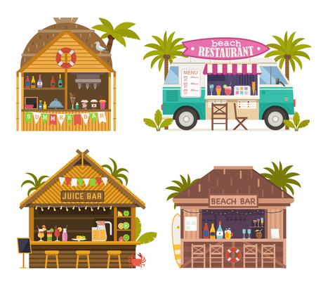Bares de jugos en la playa con batidos, refrescos y bebidas refrescantes. Restaurantes de playa y food truck con batidos de frutas, helados y cócteles. Cabaña de bar tiki tropical, bungalows en la costa del océano.