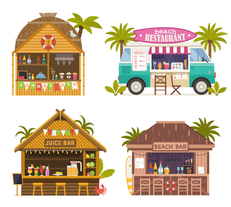 Beach juice bars with smoothies, soft drinks and refreshing beverages. Beach restaurants and food truck sailing fruit shakes, ice-cream and cocktails. Tropical tiki bar hut, bungalows on ocean coast. Standard-Bild