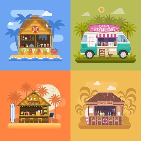 Exotic beach bar set. Summer restaurants on sea coast and food van selling fruit shakes, juice and cocktails. Beach party banners with tropical tiki bar hut, bungalow and ice cream truck.