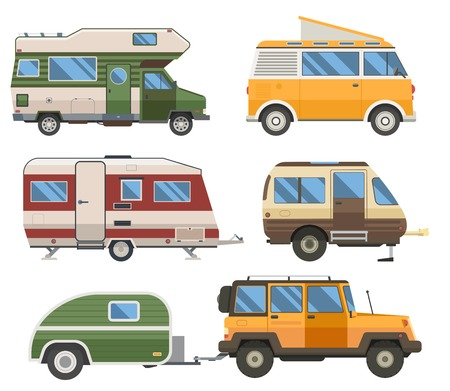 Travel cars collection. Rv campers, camping trailers and caravans set. Road traveler trucks and motorhomes in flat design. Banco de Imagens