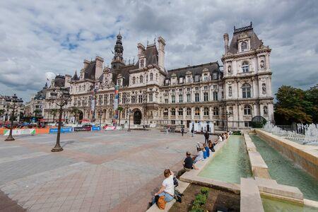 Paris, France - August 11, 2017. Hotel de Ville city hall of Paris on Place de Ville square also known as Place de Greve with renaissance revival style building. Famous touristic landmark.