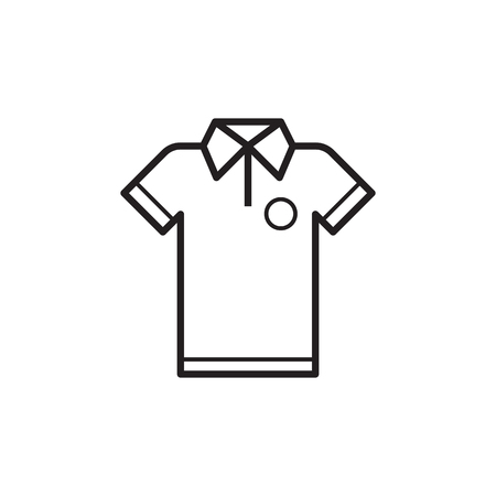Outlined t-shirt icon isolated on white background. Sport man shirt in line art design.