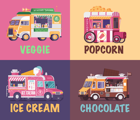 City fast food trucks and wagons set in flat design. Illustration