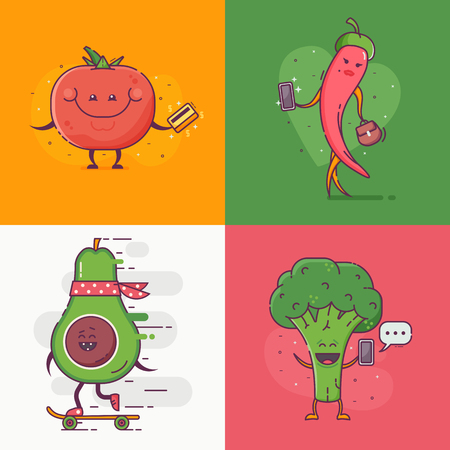 Quirky vegetables on city daily activities.