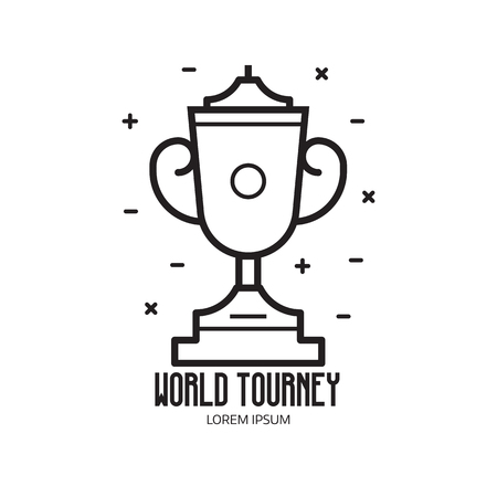 World competition logo template with trophy cup icon in line art.