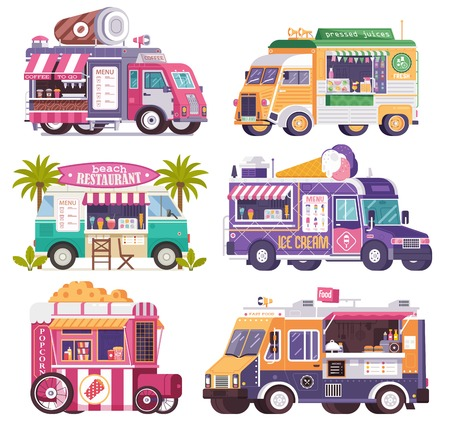 City fast food trucks and wagons set in flat design. Stockfoto