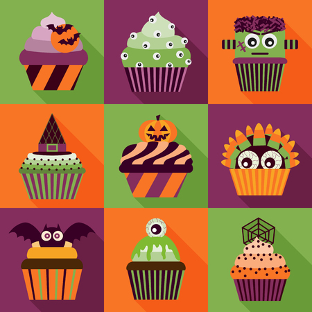 Halloween cupcakes icons with long shadow.