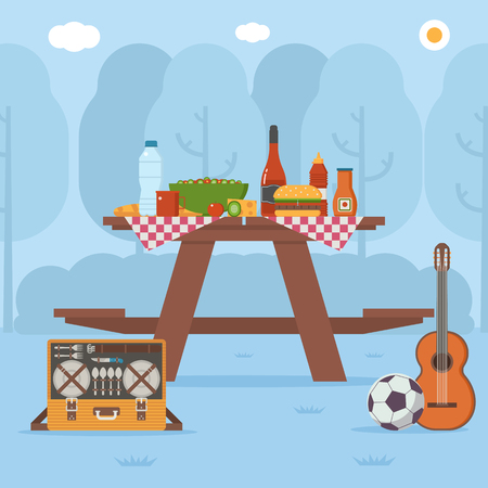 Summer wooden picnic table on forest background. Family barbecue concept with picnic party stuff. Guitar, straw basket, wine and food for outing on public park. Vettoriali