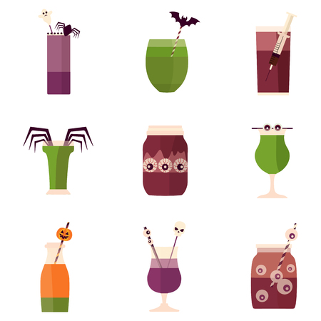 Spooky Halloween party cocktail drinks and shots menu. Creepy alcoholic and nonalcoholic beverages decorated with syringe, spider, blood, eyeball, bat and pumpkin. Colorful october party bar.