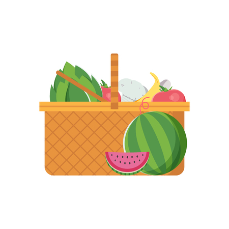 Wicker vegetable basket icon. Opened straw picnic food hamper with vegetables and fruits.