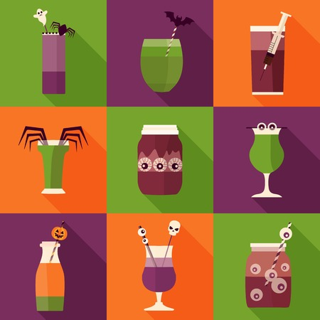 Spooky halloween cocktail drinks and shots icons. Creepy alcoholic and nonalcoholic beverages decorated with syringe, spider, blood, eyeball, bat and pumpkin. Halloween night party bar elements.
