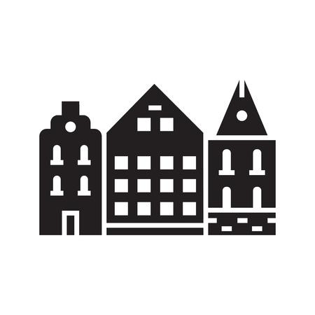 Europa Straßen- und Hausemblem. Dänisches oder schwedisches Stadthauslogo. Historisches Stadthauslogo. Straßenumrissentwurf der Innenstadt.