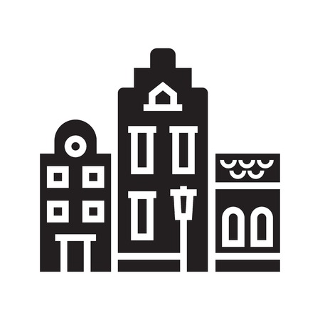Europe street and house emblem. Amsterdam logotype or icon with scandinavian townhouses. Historic town houses emblem. Downtown street outline design.