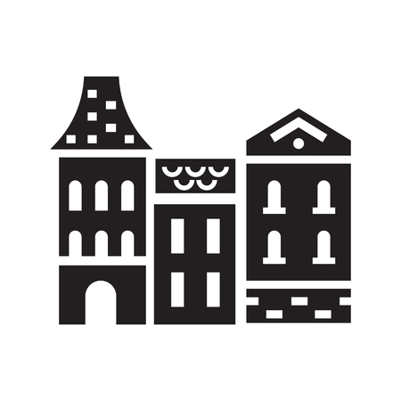 Europe town logo. British, french or german townhouse emblem. Historic town houses logotype. Merchant homes silhouette icon. Stockfoto