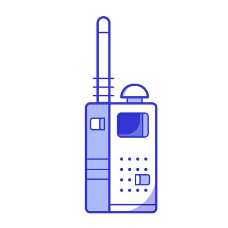 Police transceiver with antenna isolated on white background. Portable army radio set icon in flat design. Walkie talkie illustration.