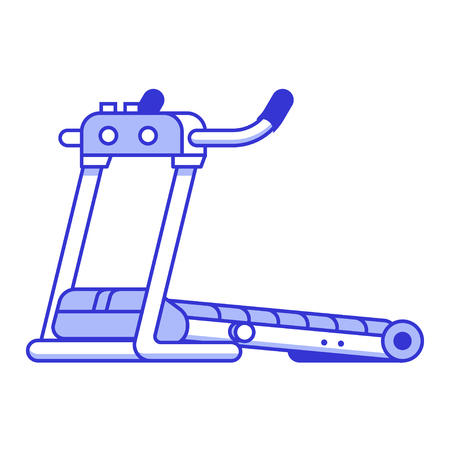 Vector running treadmill icon isolated on white background. Flat design fitness racetrack. Vectores