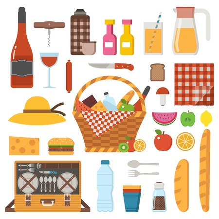 Summer picnic party icons set. Family weekend collection with cartoon straw picnic basket, food, juice, wine and cooking utensils. Cookout and outing design elements in flat design. Stockfoto