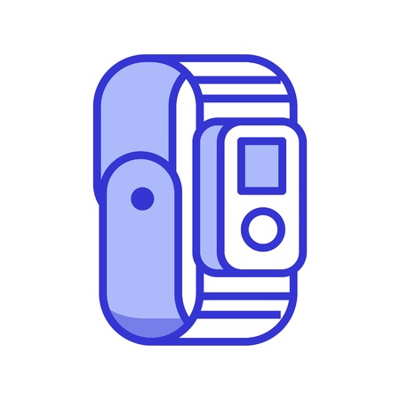 Sport wristwatch vector illustration. Wristband or fitness tracker icon. Sport watch for active people in flat design.