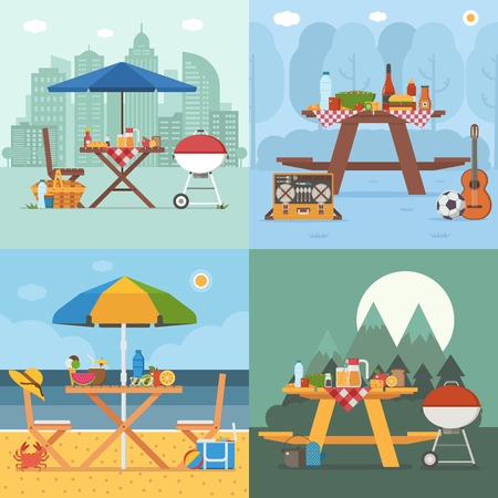 Picnic table and outing appliances on different backgrounds. Barbecue party concepts with bbq on public park, sea beach, mountain and city. Summer picnic scenes in flat design.