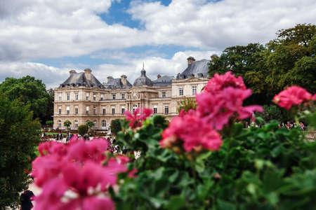 Paris, France - August 13, 2017. View of Luxembourg gardens and Luxembourg Palace, now is home to French Senate. Popular parisian landmark and famous public park with historic building and flowers.