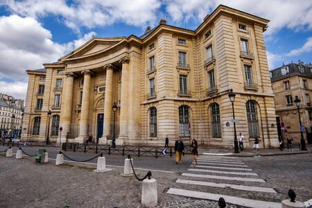 August, 13th, 2017 - Paris, France. Pantheon-Sorbonne university in Paris located on the Place du Pantheon in the Latin Quarter. Facade of the famous parisian educational building.