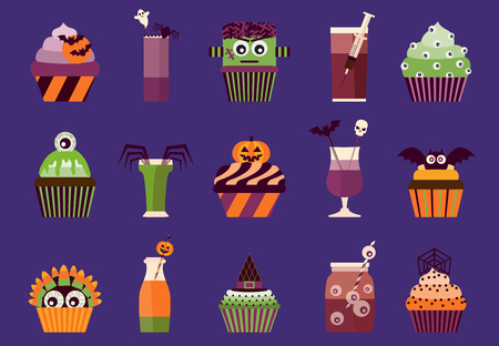 Halloween cupcakes and cocktails icons. Spooky halloween drinks and food with eyeballs, bats, skulls, monster head and other creepy symbols. Stock Photo