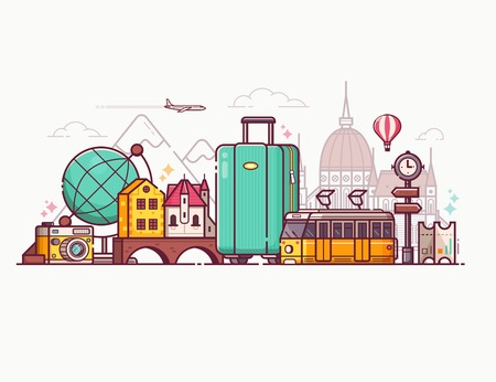Europe tourism concept travel banner or placard. Worldwide traveling panoramic composition. Background with suitcase, yellow tram, camera, balloon, famous landmarks and popular travel symbols set. Stockfoto