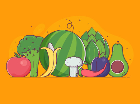 Organic design concept with pile of fresh fruits, vegetables and berries in flat design. Vegetable and fruit harvest background with veggies. Raw vegan and vegetarian food banner for advertising. Stockfoto