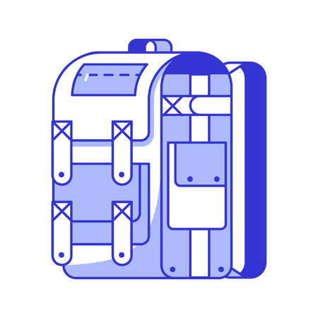 Large hiking backpack in thin line design. Tourist rucksack or photo bag. Camping backpack outline vector illustration. Hiking bag icon.