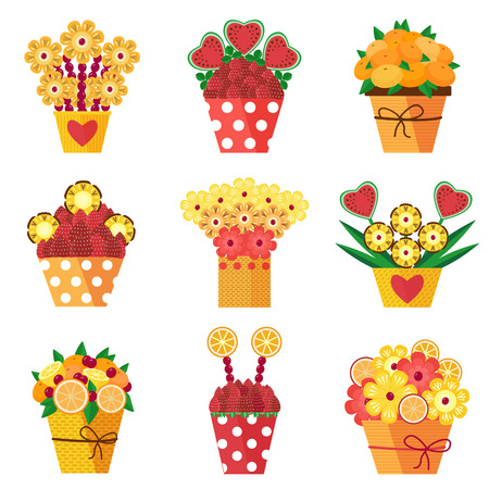Assorted colorful fruits and berries arranged into a decorative bouquet. Different pots with fruits in bloom carved as flowers. Fresh strawberries, pineapple and heart-shaped watermelon compositions. Stockfoto