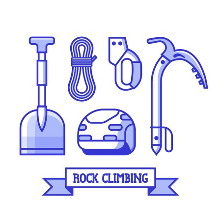 Rock climbing icon set. Professional mountaineering equipment kit. Alpine elements for mountain expedition and adventure. Essentials for mountain hike. Illustration