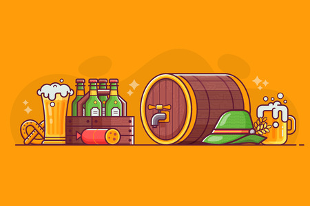 Brewery concept illustration with craft beer icons and elements in flat design. Craft beer party banner for pub celebration. Bottles, glasses, mugs, barrel and snacks.
