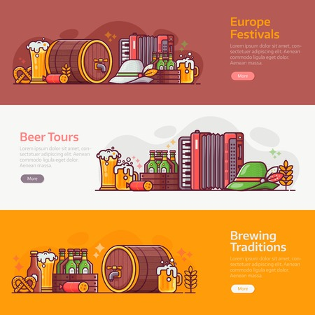 Beer fest, traditional brewery and craft beer banners for ui. Horizontal backgrounds for pub, brewery or oktoberfest party advertising with popular bavarian festival design elements in line art.