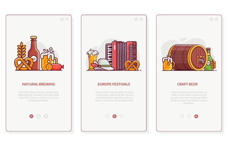 Beer festival, natural brewing and craft beer user interfaces for mobile applications. Brewery UI concept illustrations with popular oktoberfest symbols in flat design.