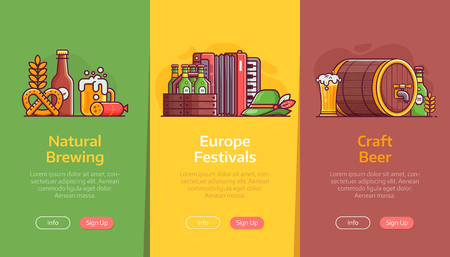 Beer fest, traditional brewery and craft beer banners for ui. Vertical backgrounds for pub, brewery or oktoberfest party advertising with popular bavarian festival design elements in line art.