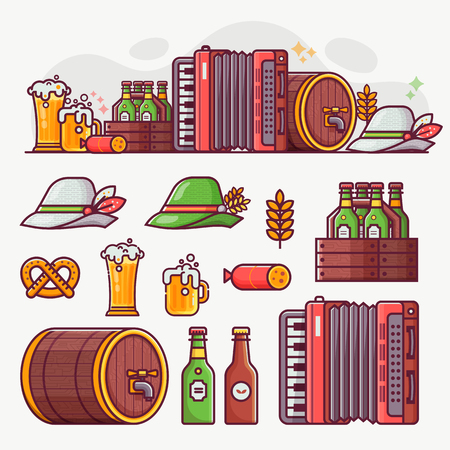 Brewing and beer festival icons and oktoberfest banner. German beer fest symbols and design elements in line art. Craft beer icon set with mugs, bavarian hat, barrel, food and drinks. Stockfoto - 106915501