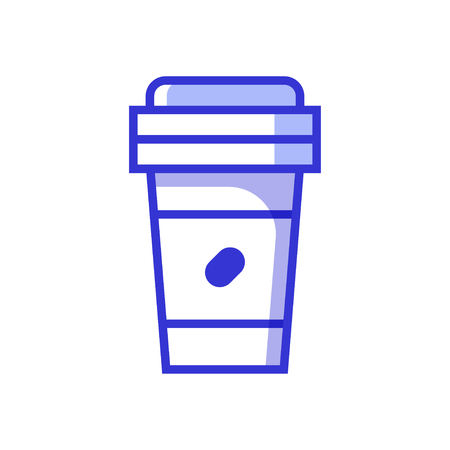 Paper take away coffee cup icon. Hot takeout chocolate. Fresh beverage in flat design. Bio coffee to go in eco friendly hot mug.