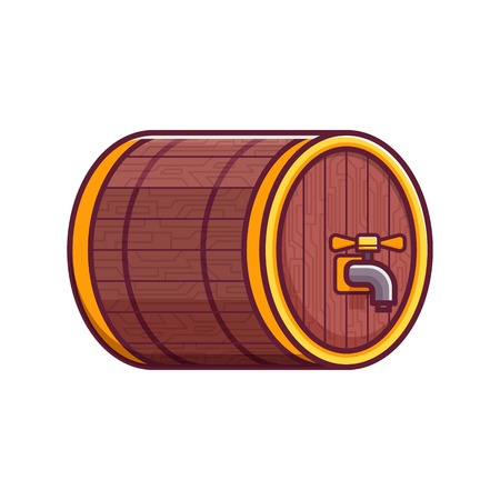 Oktoberfest craft beer wooden keg or barrel with tap icon. Oak cask of ale. Brewery or beer festival symbol, emblem or logotype.