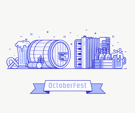 Oktoberfest banner with traditional festival symbols. Such as barrel, bavarian hat, harmonica and mugs. Beer fest concept illustration with celebrating Octoberfest elements and icons in flat design.  イラスト・ベクター素材