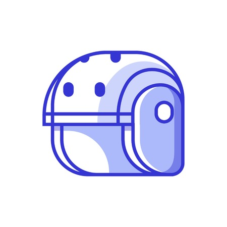 Skating, cycling or rafting helmet icon in line art. Protective sport helm for active lifestyle.