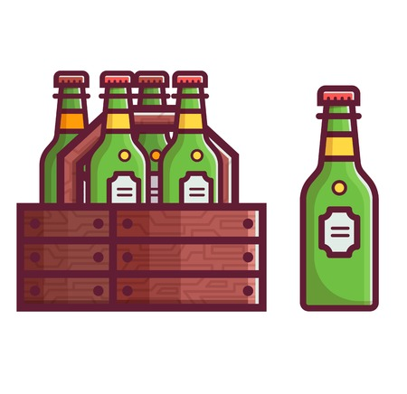Wooden case of craft beer in green glass bottles. Beer box icon in flat design.