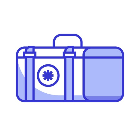 Medicine chest icon in line art. Doctor emergency case illustration. Flat first aid box with cross isolated on white. Stockfoto