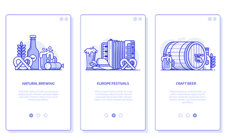 Beer festival, natural brewing and craft beer user interfaces for mobile applications. Brewery UI concept illustrations with popular oktoberfest symbols in line art. Stockfoto