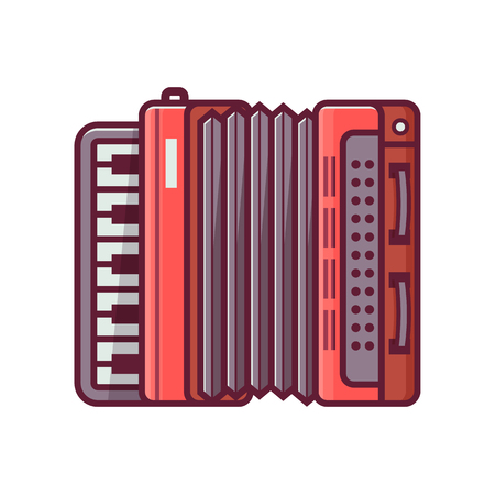 Red accordion icon in flat design. Vintage harmonica illustration in line art. Illustration