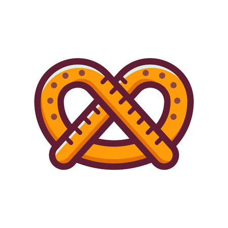 Single German pretzel icon. Traditional Oktoberfest snack in line art style. Logotype template.
